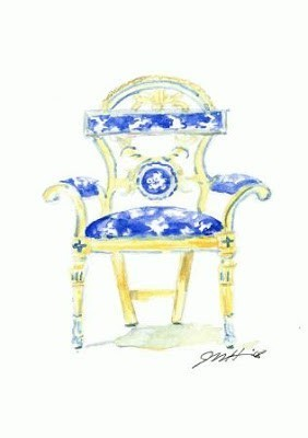 watercolor painting of chair