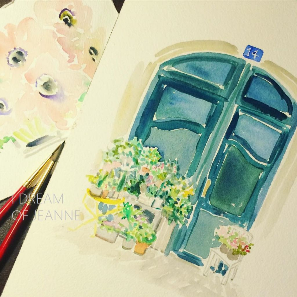 watercolour painting of flowers in front of green door in paris