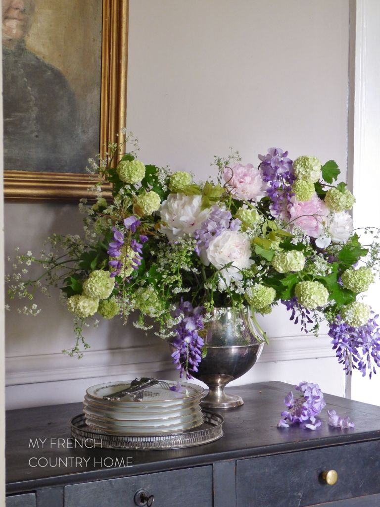 bouquet of peonies, wisteria and snowball verbena